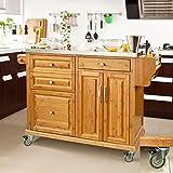 SoBuy® Luxus-Küchenwagen aus hochwertigem Bambus mit Edelstahlarbeitsplatte FKW14-N