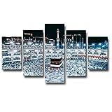 QRTQ Bilder Wandbild 150x80cm Moschee-Mekka-Nachtansicht Vlies Leinwand Bild Wandbilder Wohnzimmer Wohnung Deko Kunstdrucke(Rahmenlos)