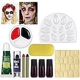 UNOMOR Halloween Schminkset für Grusel Halloween Makeup mit Kunstblut und Nägeln die im Dunklen Glühen