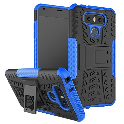 YHUISEN LG G6 Case, Hyun Pattern Dual Layer Hybrid Armor Case Abnehmbar Kickstand 2 In 1 Shockproof Tough Rugged Case Cover für LG G6 ( Color : Purple ) Blue