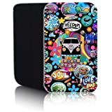 'RETRO CAMPERVAN' (M) Black Quality Neoprene Rubber Pouch Case for ZTE BLADE Q MINI Smartphone - Shock & Water Resistant Case Cover Protector - Fast Ship - UK