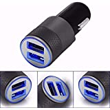 REALMAX® in Car Charger Dual USB Port LED 2.1A 1.0A 12V For iPhone X 8 7 6 5 4 3 Plus iPad iPod Android Samsung Sony Xperia HTC Smart Phone Mobile GPS Satnav And More - Black -Silver-Gold (Black)