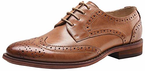 SimpleC Damen Leder Flat Vintage Brogue Oxfords Schuhe Comfy Office Schuhe Braun40 (Leder-booties Patent)