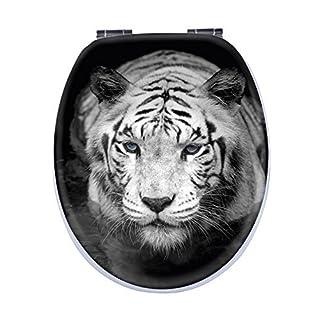Aquashine® Premium WC-Sitz   spektakuläre 3D Motive   Universal Toilettensitz mit Soft-Close Funktion   Einfache Montage von oben (3D Tiger)