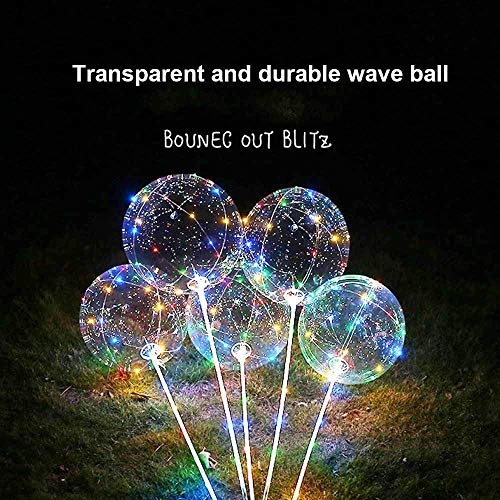 Happy Event 3PCS Decorative Reusable Latex Luminous Colorful DIY Led Light Translucidus Balloon Curtain Transparent Wave Ball Round Bubble for Decor Party Wedding Carnival Outdoor and Etc.