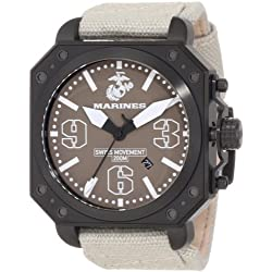 U.S. Marine Corps WA145 Men's Armor Aircraft Black IP Steel Beige Dial Beige Nylon Strap Swiss Dive Watch