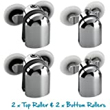 Replacement Shower Door Fixing Wheels in Chrome - 2x Top & 2x Bottom - Fits Glass 6-8mm