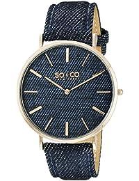 So y Co Unisex de Nueva York reloj infantil de cuarzo con diseño de rayas de azul esfera analógica y azul correa de piel 5103,5
