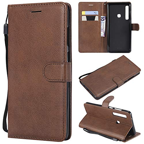 Artfeel Flip Brieftasche Hülle für Samsung Galaxy A9 2018, Premium PU Leder Handyhülle mit Kartenhalter,Retro Bookstyle Stand Abdeckung mit Magnetverschluss Handschlaufe Schutzhülle-Braun -