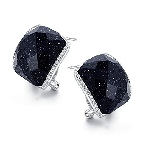 JiangXin Boucles d'Oreilles Clips Créoles en Argent Sterling 925 en Gravier Bleu Brillante Noir pour Femme Filles
