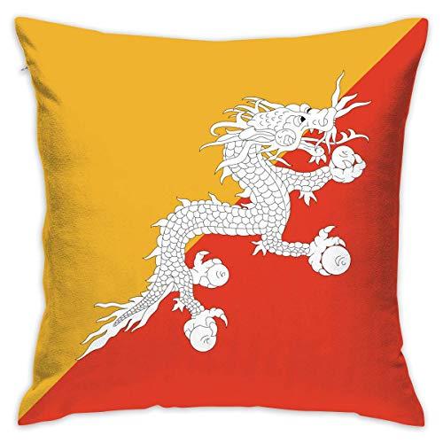 Bhutan Flag (Flags of Bhutan Throw Pillow Cases Cushion Cover Car Sofa Home Decorative 18x18 Pillowcase (Set of 2) for Home Sofa Decorative Office Chairs, Cars, Bars)