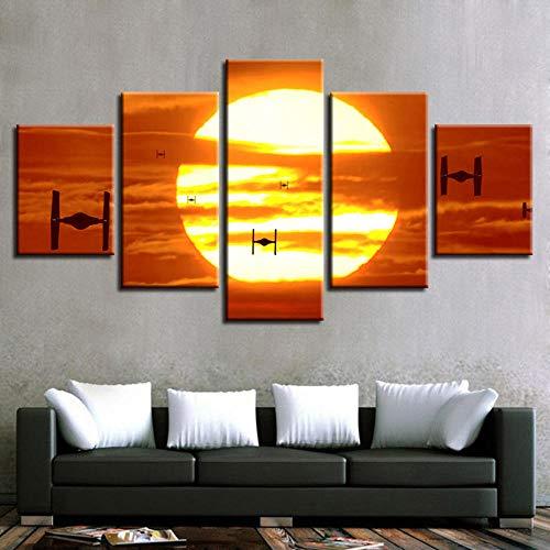 Cyalla Leinwand Hd Prints Home Dekorative Malerei 5 Stücke Film Wandkunst Modulare Bilder Nacht Hintergrund Kunstwerk Poster-30x40cmx2 30x60cmx2 30x80cmx1 -