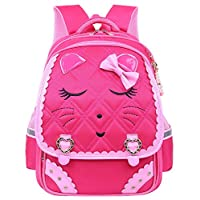Adanina Cute Bowknot Cat Face Pattern Backpack Diamond Bling Elementary School Backpack Bowknot Primary Bookbag for Girls