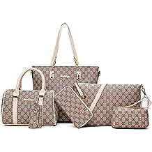 08db27f5930ae TEAMWIN Vintage PU Große Handtasche wasserdicht Henkeltasche Shopper  Kunstleder Handtasche Tasche Clutch Taschen 6er Set für