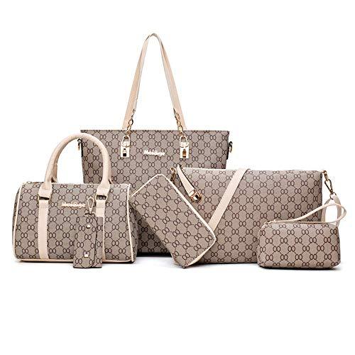 TEAMWIN Vintage PU Große Handtasche wasserdicht Henkeltasche Shopper Kunstleder Handtasche Tasche Clutch Taschen 6er Set für Frauen (Beige) (Damen Handtaschen Louis Vuitton)