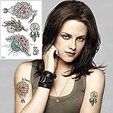 3 pz Impermeabile Tatuaggio temporaneo Adesivo Vita Rosa Tatuaggio Finto per Ragazze Donne Mare Bikini Tatuaggio Amore Petto Tribale Tatoo Acqua TH581 21x15 cm