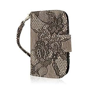 Empire MPERO FLEX FLIP Wallet Case for ZTE Aspect F555 - Retail Packaging - Black Lace