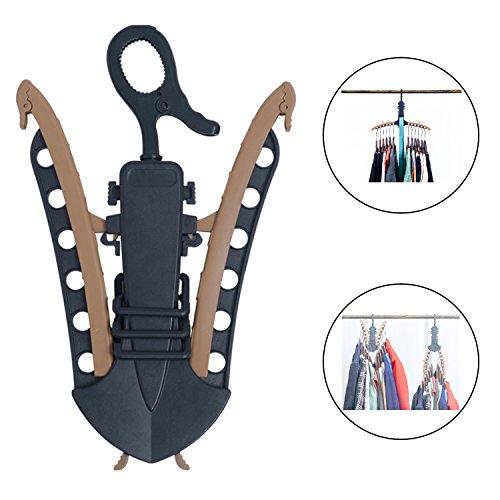 iihome Multifunktional Kleiderbügel, enhandced Kunststoff Kleiderbügel zusammenklappbar Krawatte Aufhänger für Home Closet Innen Raum sparen-Schwarz-1Pack - Band Coat Rack