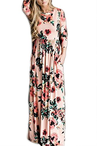 Damen Langarm böhmischen Floral Print Strand Maxi-Kleid Abendkleid Party lange Maxi Pink