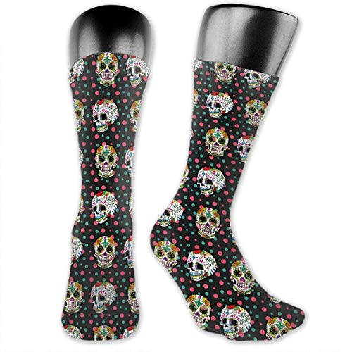 Antibacterial Sugar Skull Rose Dot Men¡¯s Women¡¯s Soft Comfort Casual Crew Socks blue socks -