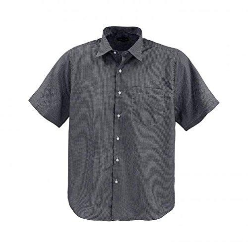 Lavecchia Klassisches Herren Kurzarm Hemd von Übergröße mit Brusttasche von 3XL bis 7XL Grau-Weiß