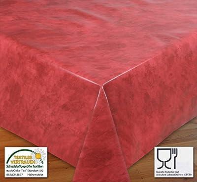 WACHSTUCH TISCHDECKE, Meterware, Größe wählbar, Glatt Marmor Rot von Beautex - Gartenmöbel von Du und Dein Garten