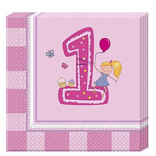 �dchen 2-lagige Papierservietten 33x33cm (Erster Geburtstag Einladungen Girl)