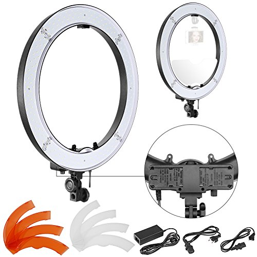 8 Zoll äußere Dimmbare SMD LED Ring Licht mit Batteriehalter, Filter und Netzteil für Make-up Studio Portrait YouTube Video Aufnahmen (Batterie nicht im Lieferumfang enthalten) ()