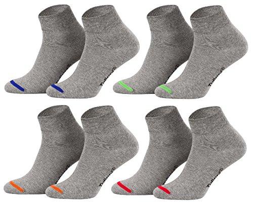 Tobeni 8 Paar Kurzsocken Quarter Socks ohne Gummi für Sie und Ihn - Socken in uni oder farbige Spitze Grösse 43-46 Farbe Grau farbige Spitze -