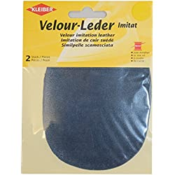 Kleiber - Toppe ovali da cucire su ginocchia/gomiti 12,5 x 10 cm in similpelle scamosciata, blu polvere