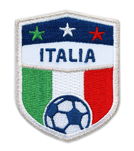 2 x Italia Fussball Abzeichen 70 x 55 mm Silber gestickt / Italien Aufnäher Aufbügler Applikation Patch Bügelbild Sticker für Kleidung Cap Tasche / Football National Team Dress Trikot Flagge Fan - Gestickte Leder-shorts