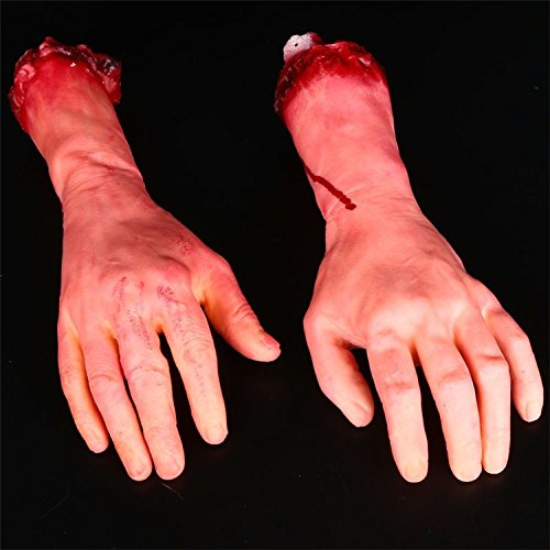 Halloween gespenst Häuser in einem geschlossenen Raum gestaltet Requisiten terroristischen Blut die Hand von Hand emulation Hand in Spielzeug, Blut, links und rechts der 1 Nur