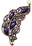 GILT GOLD COLOURED CRYSTAL LEAF BROOCH RED AMBER PURPLE BLUE GIFTS XMAS BIRTHDAY