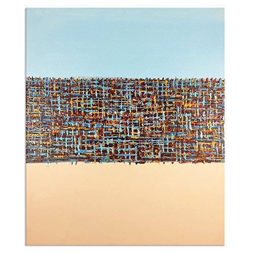 Yqm Art Moderne Abstrakte Malerei auf Leinwand Hand bemalte Wand Art Gallery Gelb-Blau Farbe Öl Gemälde gespannt und gerahmt Kunstwerk fertig Zum Aufhängen für Wohnzimmer Decor (öl-farbe Gelb)
