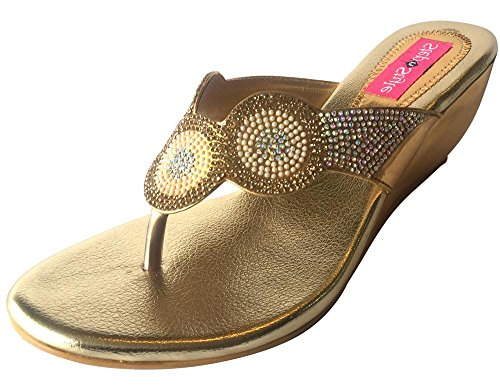 Étape N Style Femmes Chaussures Strass Cristal Mariée Sandales à enfiler Wedge Chaussures ethnique indien Or - Gold Antique