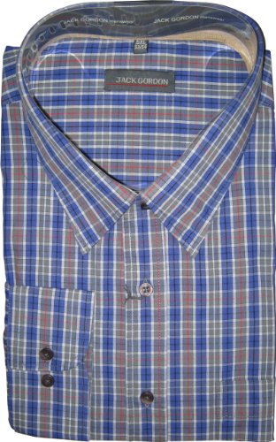Herren Hemd von Jack Gorden Langarm Kentkragen auch Übergrößen Blau/Grau/Rot
