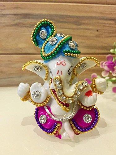 Karigaari White Stone God Ganesha Statue for Car Dashboard and Home Decor, 3x2x3 Inches(Multicolour)    kothrud   bazaar