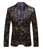 Ouye léopard Premium Blazer Doré Veste de Costume Homme