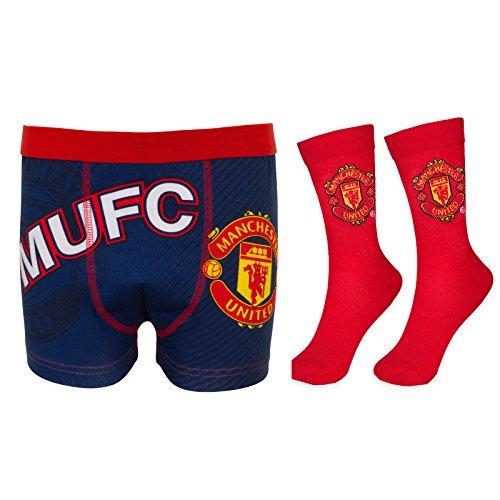 Manchester United FC Football Gift Mens Crest Socks & Boxer Shorts Navy Medium