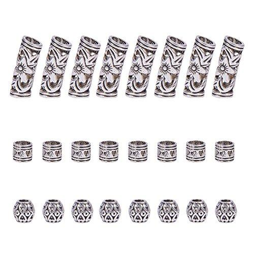 n 3 Arten Tibetischen Silber Legierung Rippen Rohr Perlen für Armband Schmuck Machen Dreadlocks Flechten Haar Dekoration Zubehör ()
