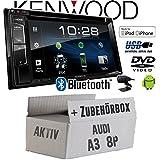 Audi A3 8P 2-Din AKTIV - Autoradio Radio Kenwood DDX318BT - 2DIN Bluetooth | DVD | USB | CD | MP3 - Einbauzubehör - Einbauset