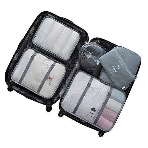 Hivexagon 6 Stück Koffer Organizer Reisegepäck Verpackung Kleidertaschen Wasserdichte Packing Cubes für Reise - Rosa AC007PI