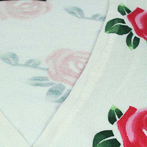 LOCOMO Blanc Motif Fleur Rose Boléro FFJ036 Cardigan Motif Floral Blanc - Blanc