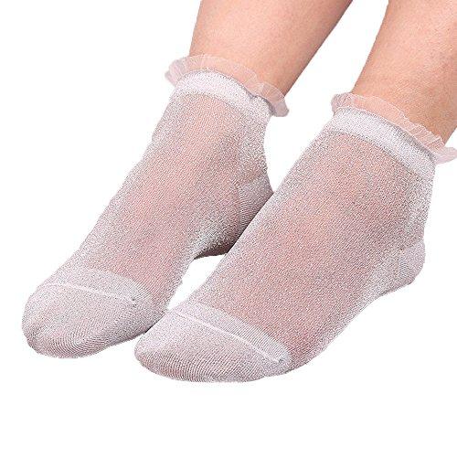 Bcfuda-calzini estate donne le signore puro di seta luccichio trasparente corto calze autoreggenti caviglia calzini