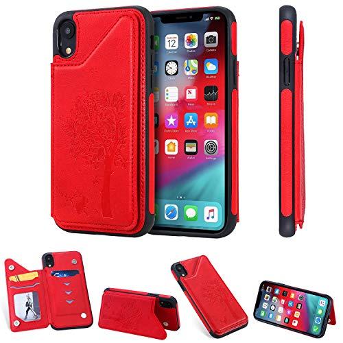 SHUYIT iPhone XR Hülle, Baum katze Muster Premium Leder Schutzhülle Doppelt Magnetic Snap mit Ständer Kartenslots Flip Brieftasche Case Cover Handyhülle für iPhone XR Rot Rot Cover Case Snap
