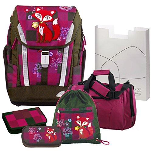 Frieda The Fox - Das Füchslein mit der Blume - Schulranzen Set 6tlg. Schneiders mit passender Sporttasche und FEDERMAPPE, Toolbag Soft Olivia