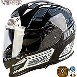 VIPER RS-V8 STEREO SPEAKERS PHONE JACK RADIO POD MP3 PRIME FULL FACE MOTORCYCLE MOTORBIKE TOURING STYLISH LATEST GRAPHIC HELMET DUAL VISOR BLACK WHITE (M)