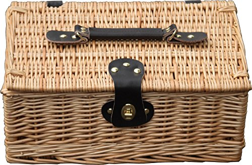 Hay Hampers Small Empty 14-Inch Lidded Willow Wicker Hamper Basket