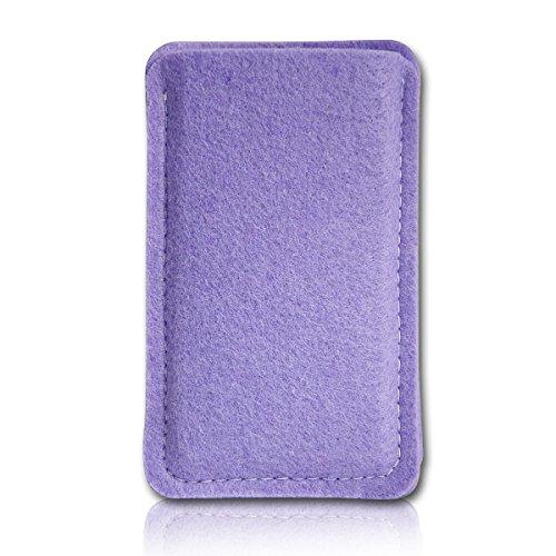 Filz Style Wiko Riff Premium Filz Handy Tasche Hülle Etui passgenau für Wiko Riff - Farbe flieder