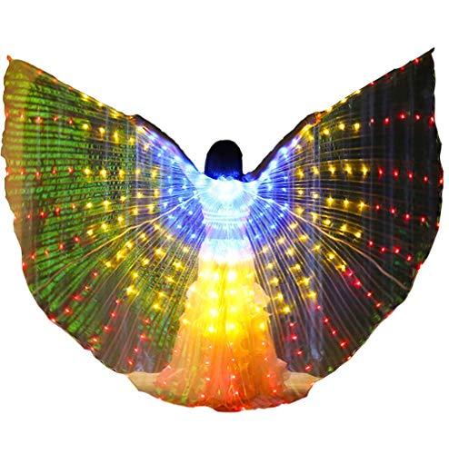 Tanzen Isis Wings für Erwachsene Mädchen Bauchtanz Kostüm Leuchtend Engelsflügel für Halloween Karneval Performance (Mädchen Leuchtendes Kostüm)